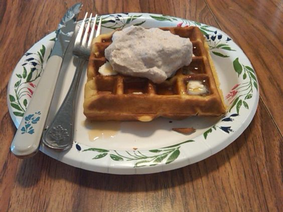 Pumpkin Waffles with Spiced Whipped Cream.