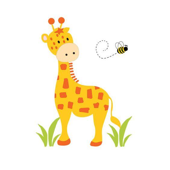 giraffe mural decal wall art baby boy safari jungle animal nursery kids room childrens zoo bedroom baby nursery cool bee animal
