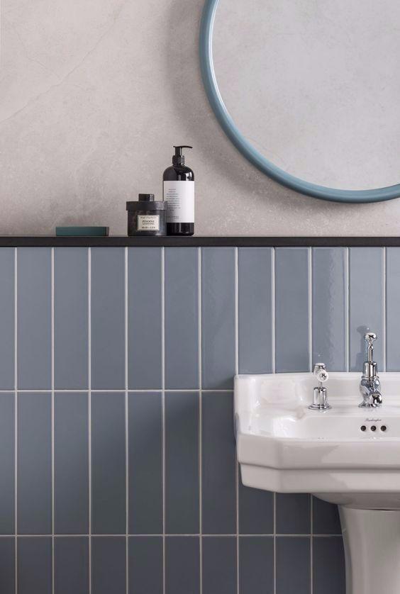 Vertically Stacked Bond Using Blue Metro Tiles Key To A Stunning Bathroom Interiortrends2019 Interi Mandarin Stone Contemporary Bathrooms Amazing Bathrooms