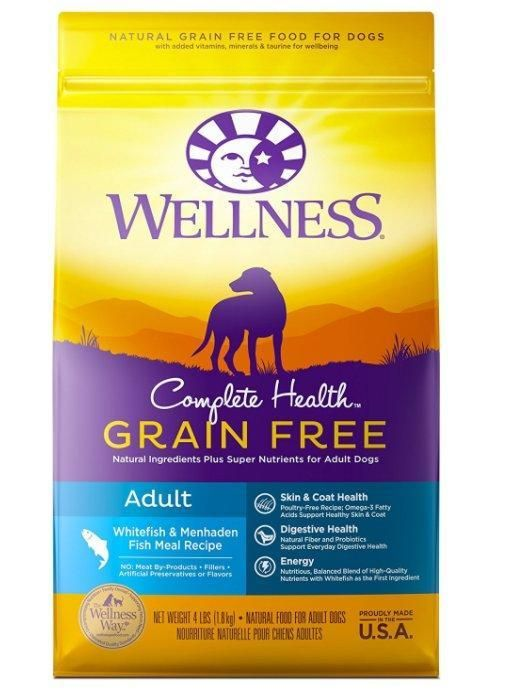 Whitefish Dry For Adult Dogs 4 Pound Bag Wellness Complete Grain