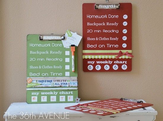 25 Ways to Organize It with a Clipboard - some great ideas on this list!: School Clipboard, For Kids, Check List, Chore Clipboard, Chore List, Chore Charts