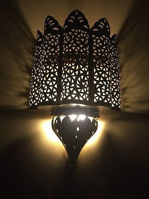 Moroccan Traditional Brass Plated Carved Iron Tin Wall Light Sconce