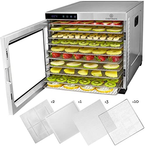 New Chefwave 10 Tray Food Dehydrator Machine Stainless Steel
