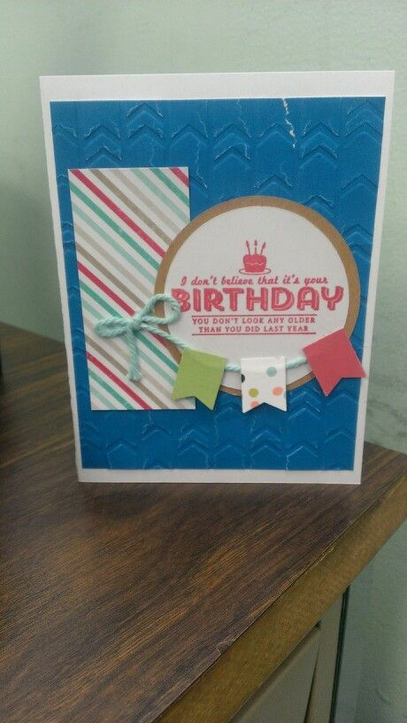 Stampin Up birthday card. See ya later. Banner punch. February birthdays