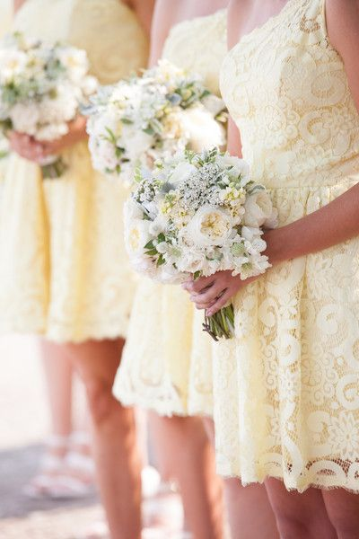 Short, light yellow lace one shoulder bridesmaid dresses {Robin Jolin Weddings}