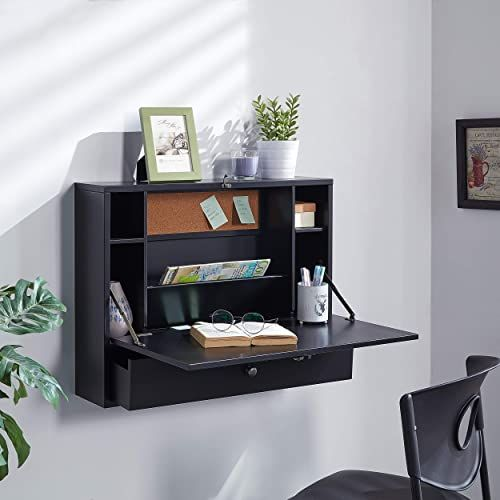 Buy Southern Enterprises Wall Mount Folding Laptop Desk Black Online Seetopstar In 2020 Floating Wall Desk Wall Desk Floating Desk