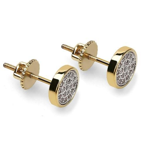 Mens Round Small 14k Gold Plated Cz Bling Screw Back Hip Hop Stud Earrings
