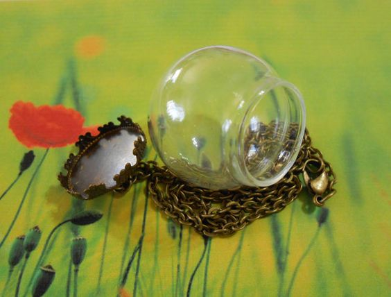 Glass globe necklace Brass chain and lid Dome jewelry Bubble Wish Bottle necklace Vial necklace Orb Terrarium necklace Jewelry supplies