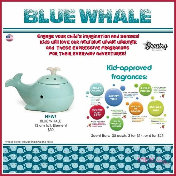 """NEW for FALL/WINTER 2016, Scentsy's """"Blue Whale"""" wax warmer & children approved fragrances. Part of the Scentsy """"Kids"""" collection #scentsbykris"""