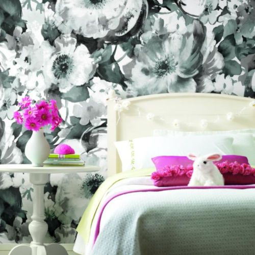 Roommates Decor Black And White Floral Peel And Stick Wallpaper Rmk11515pnl Bellacor Peel And Stick Wallpaper Roommate Decor Wall Coverings
