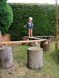 natural music backyard playground | Gross motor fun on a 'plank path'