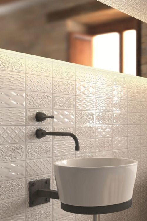 White Textured Patterned Subway Tile