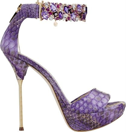 Loriblu & Ponte Vecchio Purple Metal Heel Stiletto Sandal with Bejeweled Ancle Strap 2011 #Shoes #Heels
