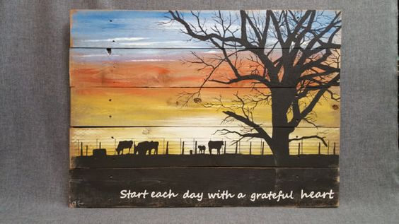 Sunset Farm Cows Fence Tree Painting Reclaimed Wood
