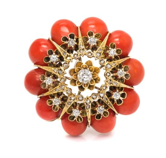 A Yellow Gold, Coral and Diamond Brooch, 15.10 dwts.
