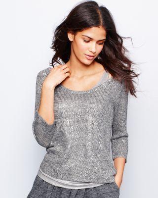 Eileen Fisher Shimmer Three-Quarter-Sleeve Sweater - Petite