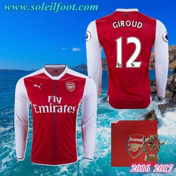 Maillot Du Arsenal Manche Longue (GIROUD 12) Domicile 2016-2017 Pas Cheres