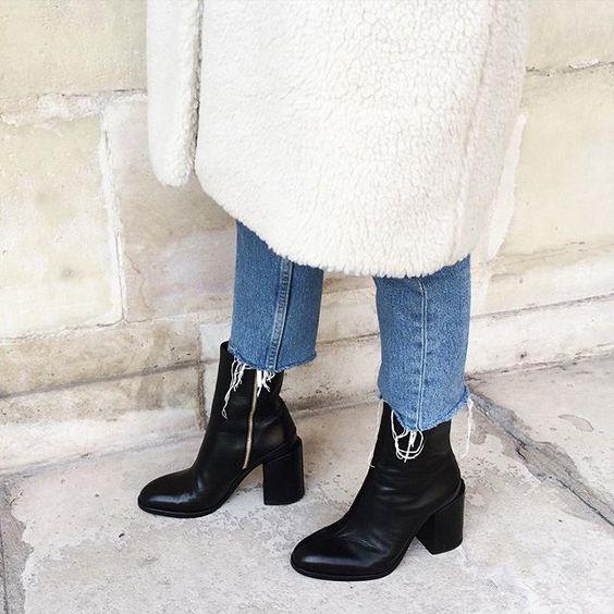 white wool coat + raw hem boyfriend jeans + black ankle boots