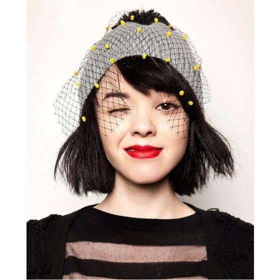 Autumn Winter Fashion Women Vintage Beanie Bobble Decoration Net Veil Crochet Knitted Hat