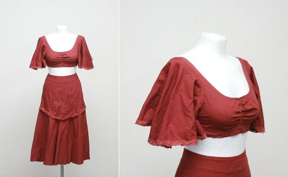 MASKIT 50s 60s vintage crop bra top and skirt (medium)