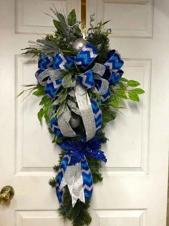 Blue Christmas  Wreath, Blue Christmas Swag, Blue Christmas Decorations, Blue Door Decoration by LisasLaurels on Etsy