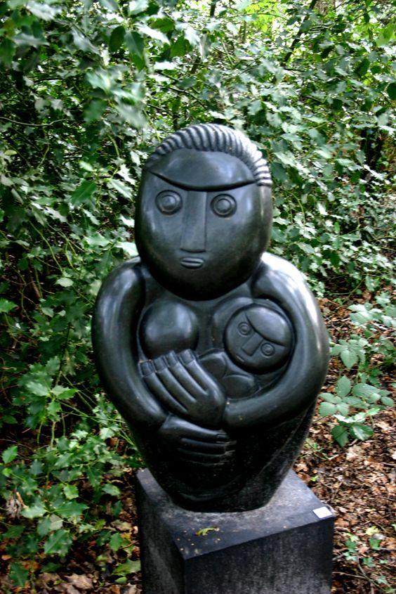 """Skulptur aus Simbabwe """" Frau mit Kind"""""""