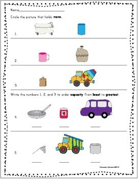 comparing and ordering capacity math pinterest kindergarten search and core standards. Black Bedroom Furniture Sets. Home Design Ideas