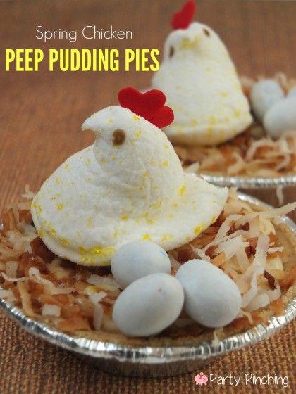 spring chicken peeps, lemonade peeps, easy easter dessert, barnyard party ideas, easter party ideas, easter treat ideas for kids, easter pie...