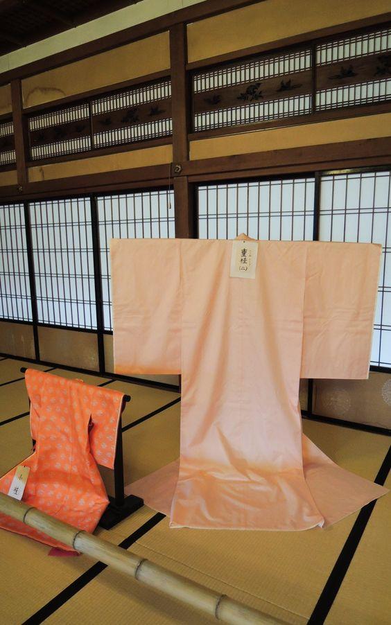 Kimono on display in the Hinjitsu-kan during the Hina-Meguri Festival in in Futami, Japan.