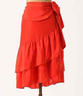 Anthropologie Flounced Wrap Skirt Sz M & L, Moulinette Soeurs, Silk Ruffle Skirt