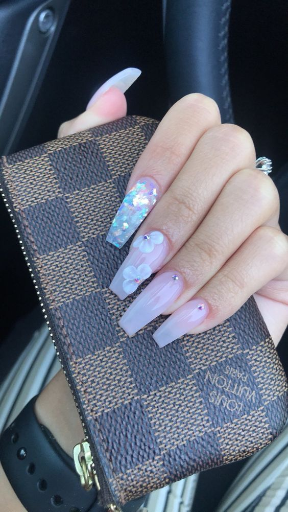 Today We Have Brought Some Unfathomable Nail Designs Glitter Color Combos With Your Favored Pink Sh Long Square Nails Pretty Acrylic Nails Coffin Nails Designs