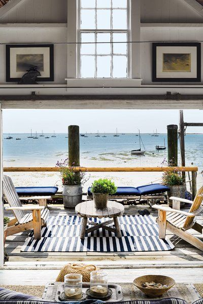 Wendy Goodman takes a tour of this New England getaway with a spare but comfortable feel, outdoor furnishings, and a view of the Cape Cod Bay.