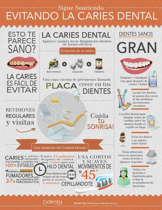 Descubre cómo evitar la #caries con esta #infografía de #Identis. Pide cita para una #limpieza dental!