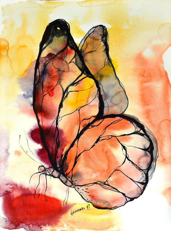 Butterfly watercolor and ink painting original by AlisaAdamsoneArt on Etsy