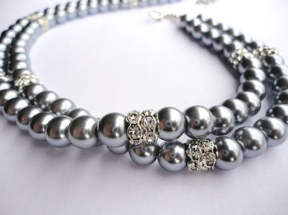 Necklace Double Strand Silver Pearl and by InBloomGallery on Etsy, $45.00