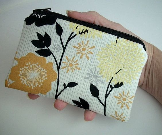 Gold Floral Little Zipper pouch Coin Purse Padded Gadget case by JPATPURSES, $9.00