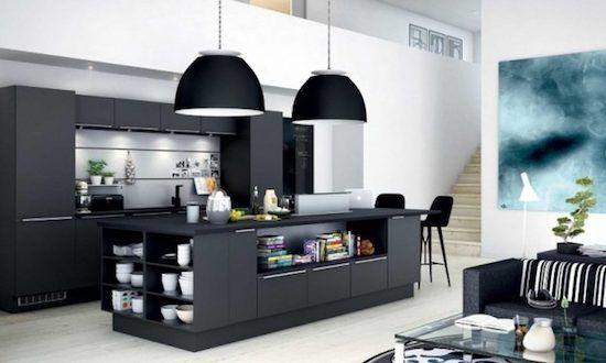 Coole Schwarze Kuche Ideen Mit Herd Und Kuche Deko Ideen Modern Kitchen Island Design Modern Kitchen Design Modern Black Kitchen