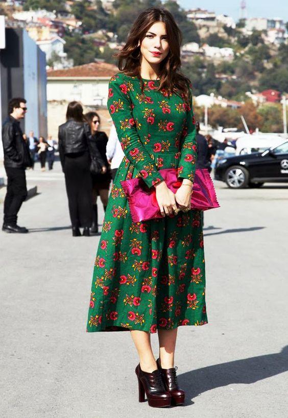 2020 Uzun Basma Elbiseler Gunluk Yesil Midi Uzun Kollu Kayik Yaka Cicek Desenli Elbiseler Elbise Cicekli Elbiseler