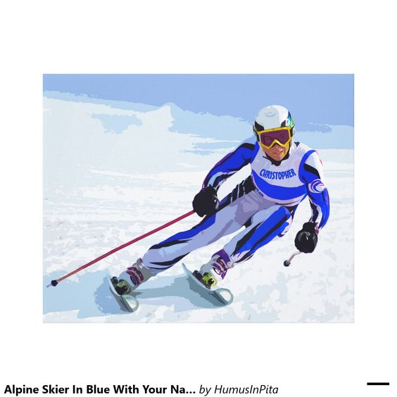 Alpine Skier In Blue With Your Name Drawing Canvas Print