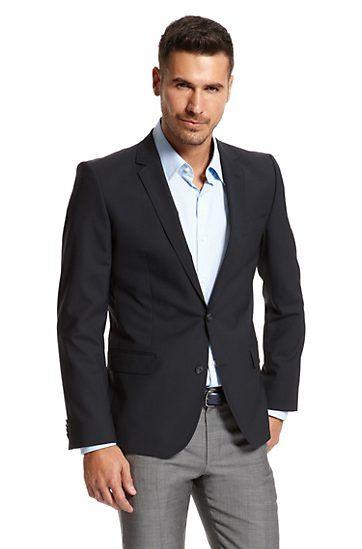 Slim Fit Stretch Wool &39Aikos&39 Sport Coat Dark Blue -HUGO BOSS
