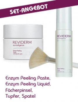 REVIDERM Set: Enzym Peeling Paste, Enzym Peeling Liquid, Fächerpinsel, Tupfer, Spatel