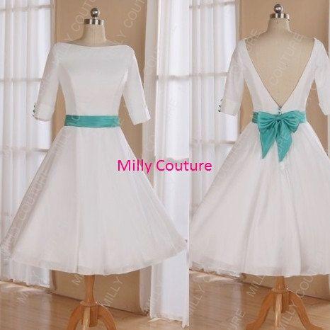 Simplicité bateau cou années 1950 thé dos faible longueur robe de mariée avec manches 3/4, robe de mariée courte de rockabilly, années 50 inspiration robe de mariée
