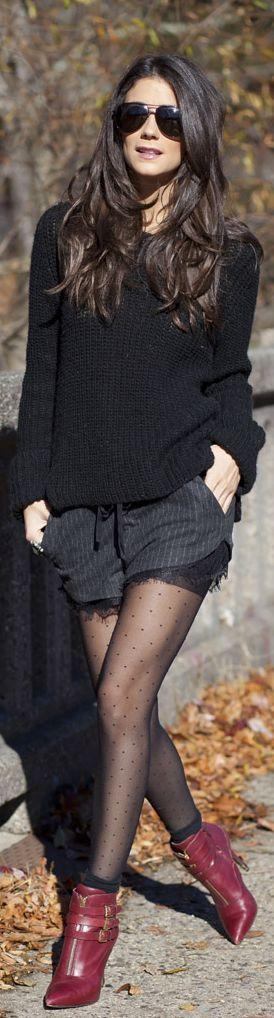 Mixed Fabrics: #Zara Sweater & shorts, #Club Monaco Tights, Michaël #Kors Shoes