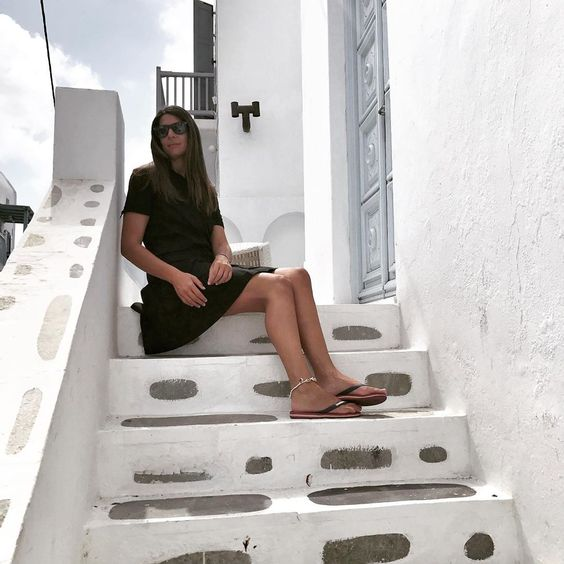 "More-Mode on Instagram: ""My black dress through the White streets of Mykonos... #postcard #contrast #blackdress #chemisier #style #whitestreets #mykonosstreets…"""