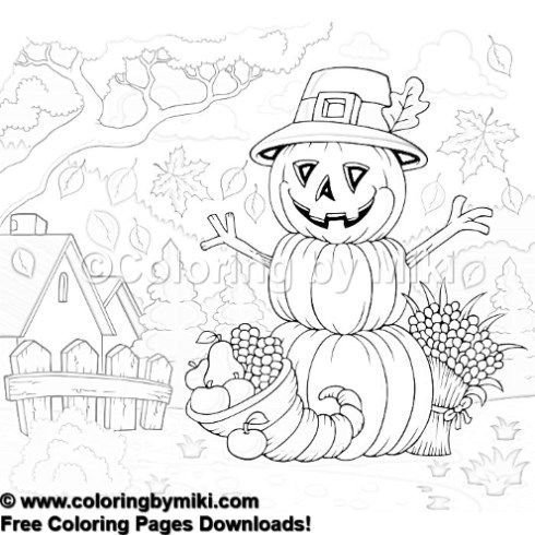 Autumn Halloween Harvest Coloring Page 1206 Coloring Pages