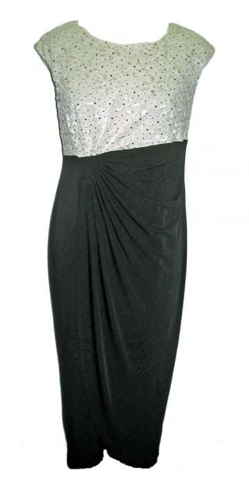 Connected Woman Ivory Black Empire Waist Evening Dress