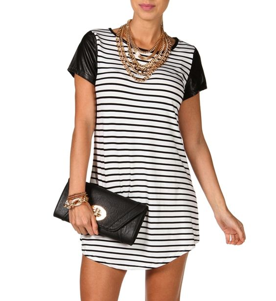 Striped Tunic with Faux Leather Sleeves at WindsorStore