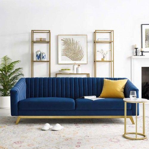 Blue Velvet Vertical Channel Tufted Sofa Velvet Sofa Living Room Blue Velvet Sofa Living Room Blue Sofas Living Room