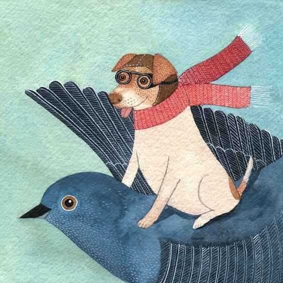 Genine - cachorrinho voando no pássaro