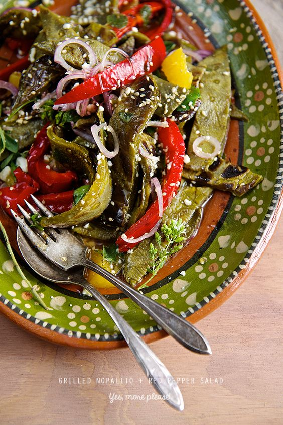 Grilled Nopalito + Red Bell Pepper Salad… a great summer dish to ...